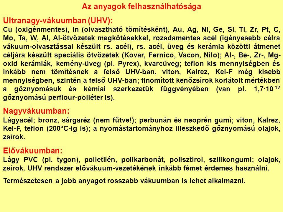 Az anyagok felhasználhatósága Ultranagy-vákuumban (UHV): Cu (oxigénmentes), In (olvasztható tömítésként), Au, Ag, Ni, Ge, Si, Ti, Zr, Pt, C, Mo, Ta, W, Al, Al-ötvözetek megkötésekkel, rozsdamentes acél (igényesebb célra vákuum-olvasztással készült rs.