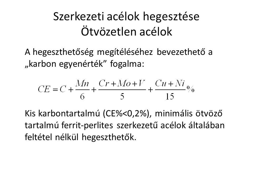 """Szerkezeti acélok hegesztése Ötvözetlen acélok A hegeszthetőség megítéléséhez bevezethető a """"karbon egyenérték"""" fogalma: Kis karbontartalmú (CE%<0,2%)"""