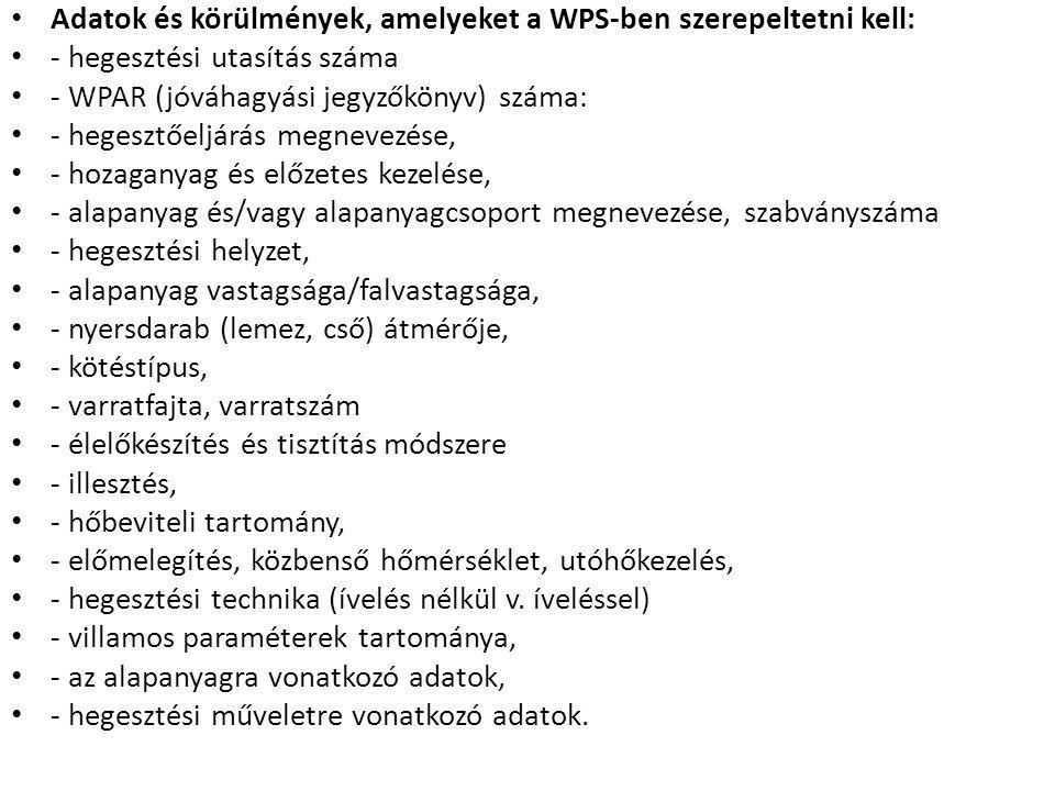 Adatok és körülmények, amelyeket a WPS-ben szerepeltetni kell: - hegesztési utasítás száma - WPAR (jóváhagyási jegyzőkönyv) száma: - hegesztőeljárás m