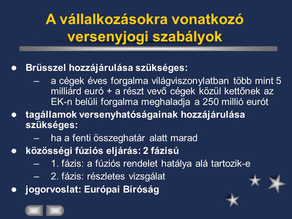 A vállalkozásokra vonatkozó versenyjogi szabályok Brüsszel hozzájárulása szükséges: –a cégek éves forgalma világviszonylatban több mint 5 milliárd euró + a részt vevő cégek közül kettőnek az EK-n belüli forgalma meghaladja a 250 millió eurót tagállamok versenyhatóságainak hozzájárulása szükséges: –ha a fenti összeghatár alatt marad közösségi fúziós eljárás: 2 fázisú –1.