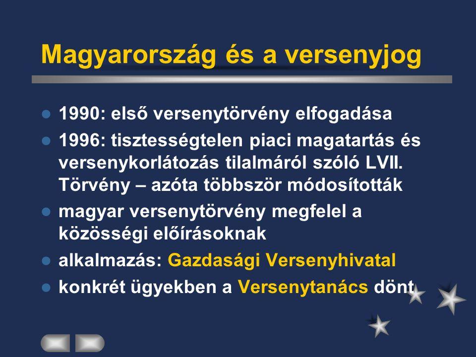 Magyarország és a versenyjog 1990: első versenytörvény elfogadása 1996: tisztességtelen piaci magatartás és versenykorlátozás tilalmáról szóló LVII.