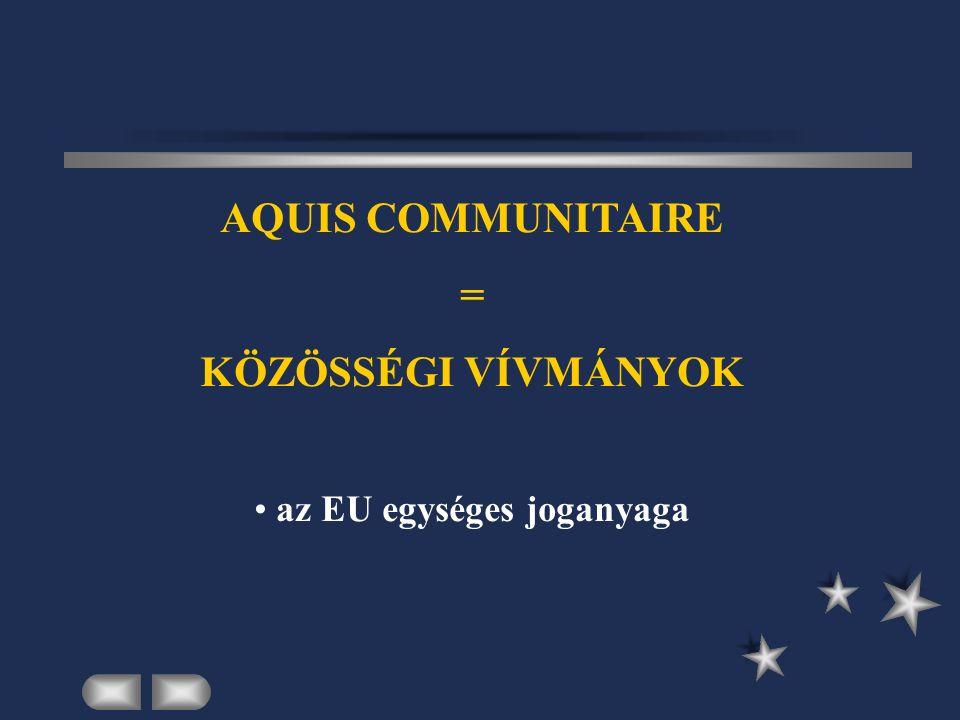 AQUIS COMMUNITAIRE = KÖZÖSSÉGI VÍVMÁNYOK az EU egységes joganyaga