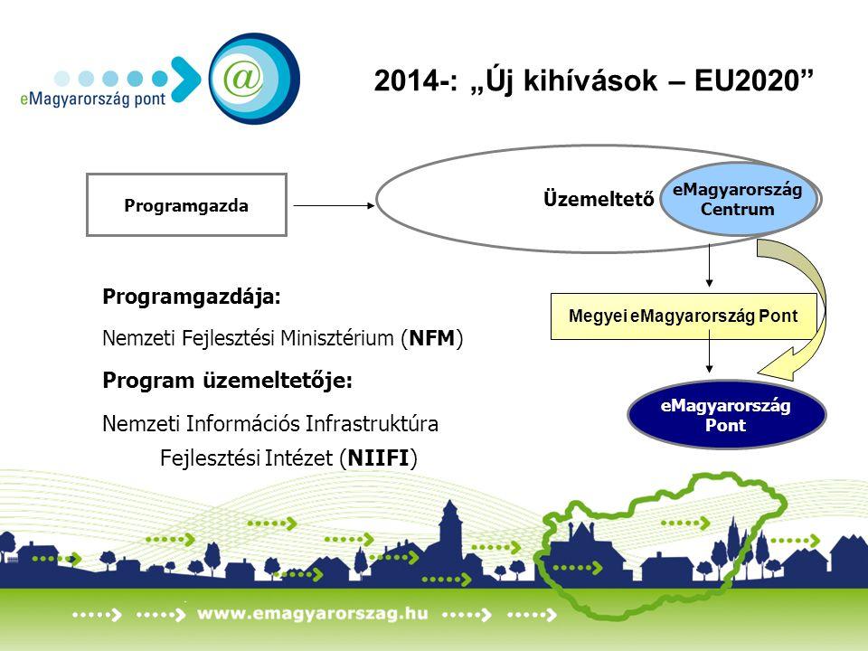 """2014-: """"Új kihívások – EU2020 Programgazdája: Nemzeti Fejlesztési Minisztérium (NFM) Program üzemeltetője: Nemzeti Információs Infrastruktúra Fejlesztési Intézet (NIIFI) Üzemeltető eMagyarország Centrum Programgazda Megyei eMagyarország Pont eMagyarország Pont"""
