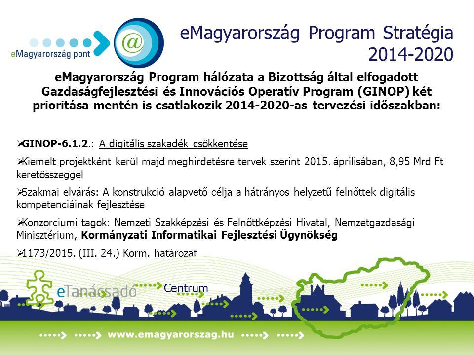 eMagyarország Program Stratégia 2014-2020 eMagyarország Program hálózata a Bizottság által elfogadott Gazdaságfejlesztési és Innovációs Operatív Program (GINOP) két prioritása mentén is csatlakozik 2014-2020-as tervezési időszakban:  GINOP-6.1.2.: A digitális szakadék csökkentése  Kiemelt projektként kerül majd meghirdetésre tervek szerint 2015.