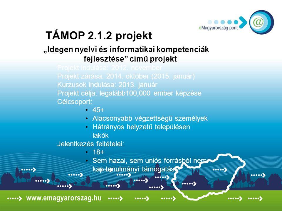 """""""Idegen nyelvi és informatikai kompetenciák fejlesztése című projekt Projekt indulása: 2012."""