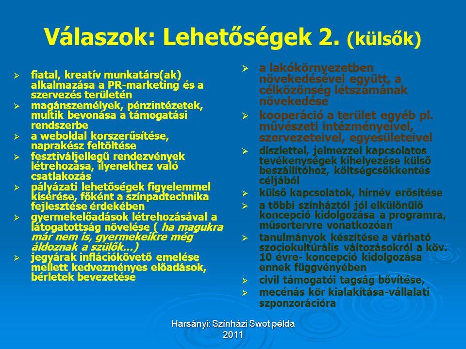 Harsányi: Színházi Swot példa 2011 Válaszok: Lehetőségek 2. (külsők)   fiatal, kreatív munkatárs(ak) alkalmazása a PR-marketing és a szervezés terül