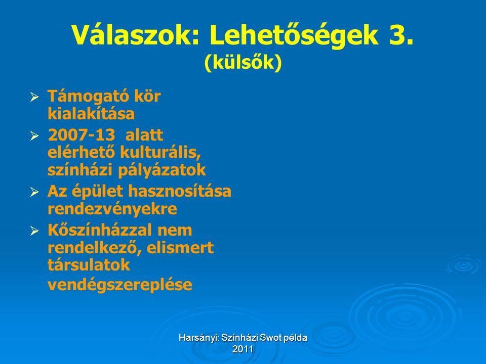Harsányi: Színházi Swot példa 2011 Válaszok: Lehetőségek 3. (külsők)   Támogató kör kialakítása   2007-13 alatt elérhető kulturális, színházi pály