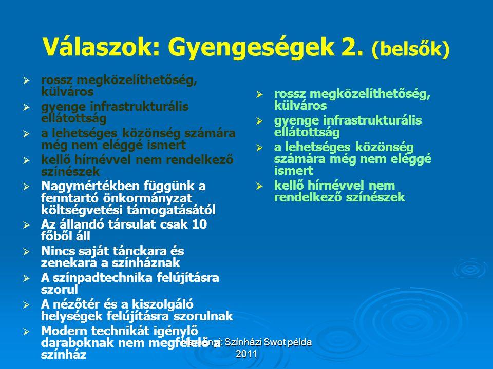 Harsányi: Színházi Swot példa 2011 Válaszok: Gyengeségek 2. (belsők)   rossz megközelíthetőség, külváros   gyenge infrastrukturális ellátottság 