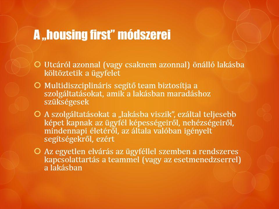 """A """"housing first módszerei  Utcáról azonnal (vagy csaknem azonnal) önálló lakásba költöztetik a ügyfelet  Multidiszciplináris segítő team biztosítja a szolgáltatásokat, amik a lakásban maradáshoz szükségesek  A szolgáltatásokat a """"lakásba viszik , ezáltal teljesebb képet kapnak az ügyfél képességeiről, nehézségeiről, mindennapi életéről, az általa valóban igényelt segítségekről, ezért  Az egyetlen elvárás az ügyféllel szemben a rendszeres kapcsolattartás a teammel (vagy az esetmenedzserrel) a lakásban"""