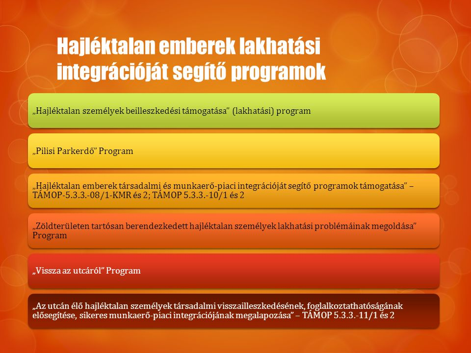 """Hajléktalan emberek lakhatási integrációját segítő programok """"Hajléktalan személyek beilleszkedési támogatása"""" (lakhatási) program""""Pilisi Parkerdő"""" Pr"""