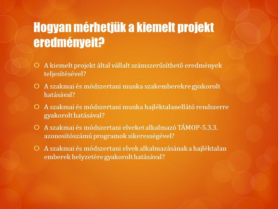 Hogyan mérhetjük a kiemelt projekt eredményeit? AA kiemelt projekt által vállalt számszerűsíthető eredmények teljesítésével? AA szakmai és módszer