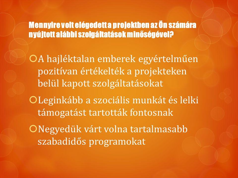 A hajléktalan emberek egyértelműen pozitívan értékelték a projekteken belül kapott szolgáltatásokat  Leginkább a szociális munkát és lelki támogatá