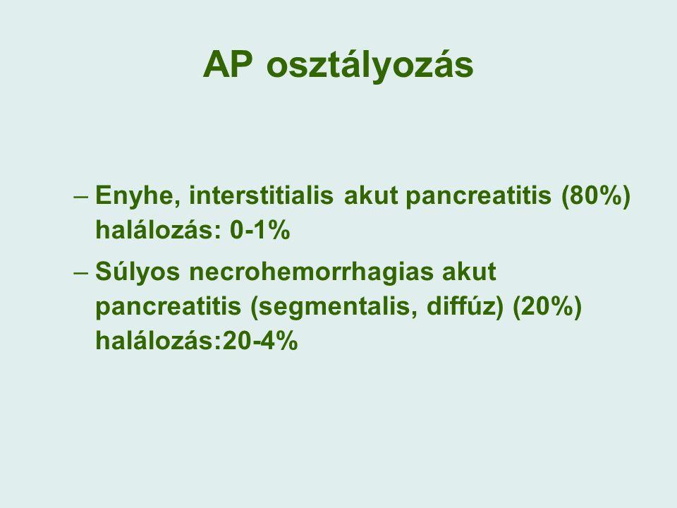 AP osztályozás –Enyhe, interstitialis akut pancreatitis (80%) halálozás: 0-1% –Súlyos necrohemorrhagias akut pancreatitis (segmentalis, diffúz) (20%) halálozás:20-4%