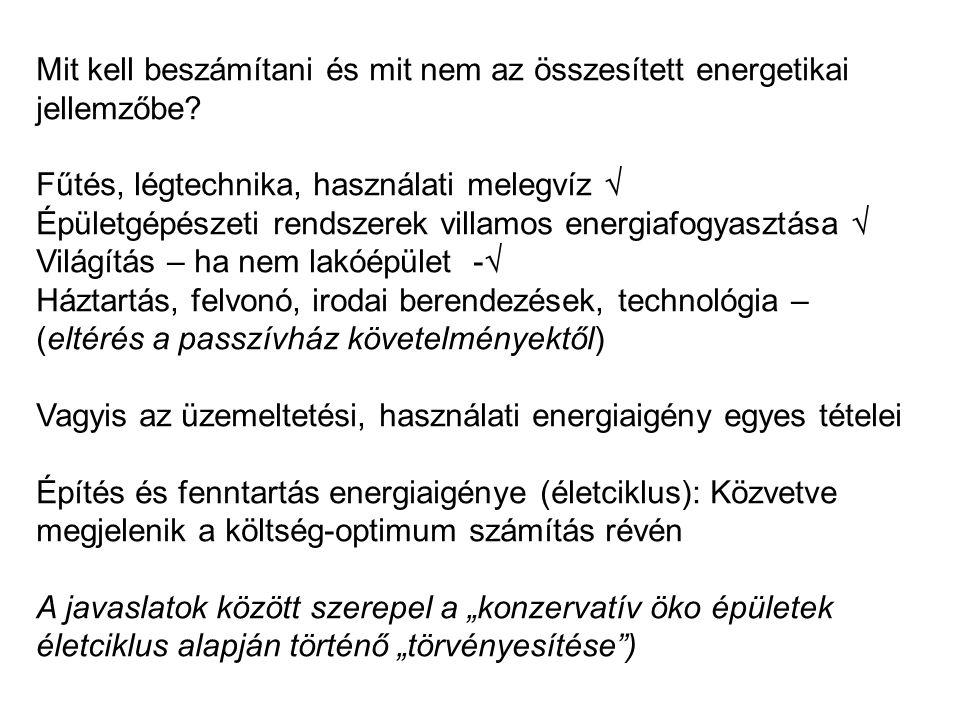 Mit kell beszámítani és mit nem az összesített energetikai jellemzőbe.