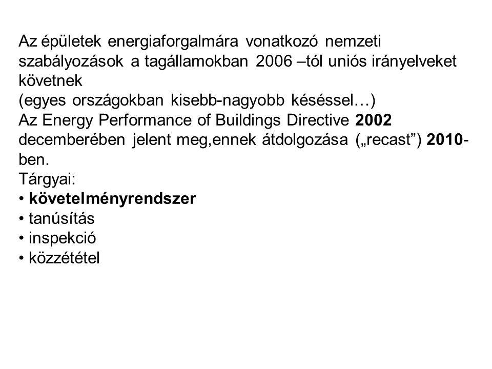 A szabályozás három szintű az összesített primer energiafogyasztása (épület és gépészet együtt) ne legyen nagyobb, mint X kWh/m 2 év, ezen belül az épület fajlagos hőveszteségtényezője ne legyen nagyobb, mint Y W/m 3 K (de ez önmagában még nem elégséges) az egyes határoló- és nyílászáró szerkezetek hőátbocsátási tényezője ne haladja meg az adott szerkezetre előírt határértéket (önmagában ez sem elégséges).