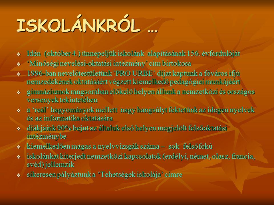ISKOLÁNKRÓL …  Idén (október 4.) ünnepeljük iskolánk alapításának 156.