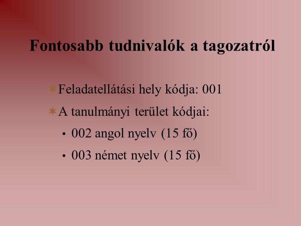 Fontosabb tudnivalók a tagozatról  Feladatellátási hely kódja: 001  A tanulmányi terület kódjai: 002 angol nyelv (15 fő) 003 német nyelv (15 fő)