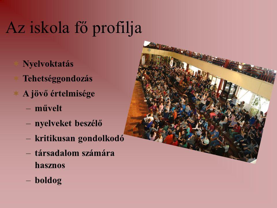 Az iskola fő profilja NNyelvoktatás TTehetséggondozás AA jövő értelmisége –m–művelt –n–nyelveket beszélő –k–kritikusan gondolkodó –t–társadalom számára hasznos –b–boldog