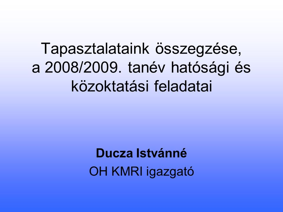 Tapasztalataink összegzése, a 2008/2009.