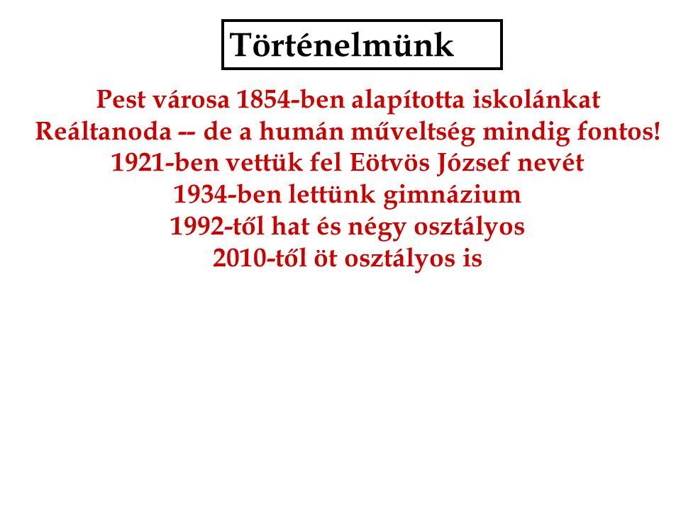 Történelmünk Pest városa 1854-ben alapította iskolánkat Reáltanoda -- de a humán műveltség mindig fontos.