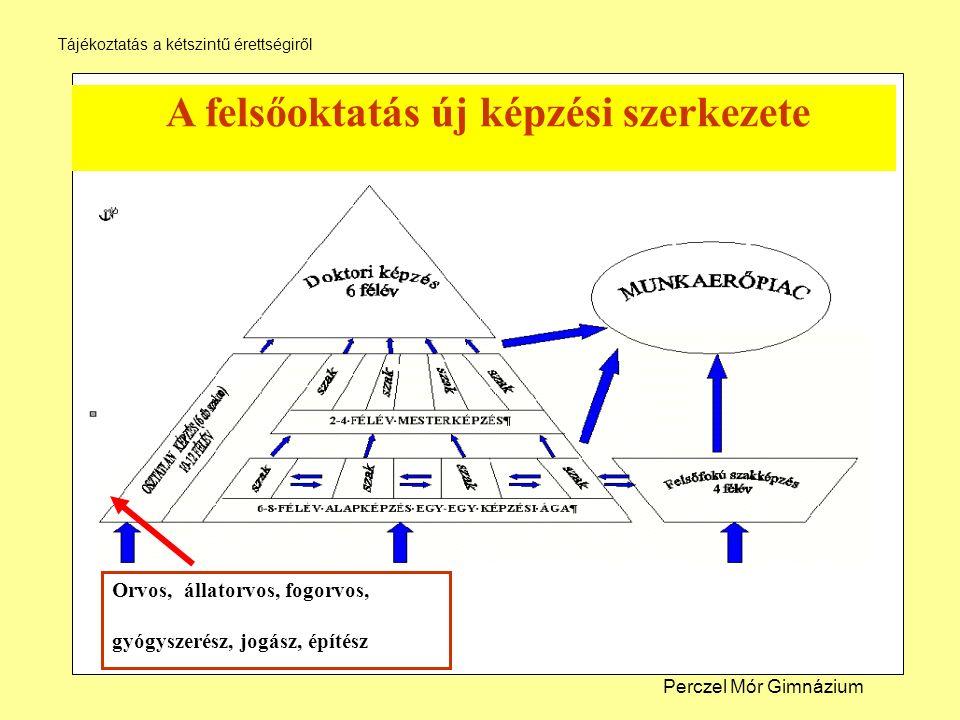 A felsőoktatás új képzési szerkezete Orvos, állatorvos, fogorvos, gyógyszerész, jogász, építész Perczel Mór Gimnázium Tájékoztatás a kétszintű érettségiről