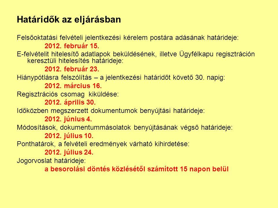 Határidők az eljárásban Felsőoktatási felvételi jelentkezési kérelem postára adásának határideje: 2012.