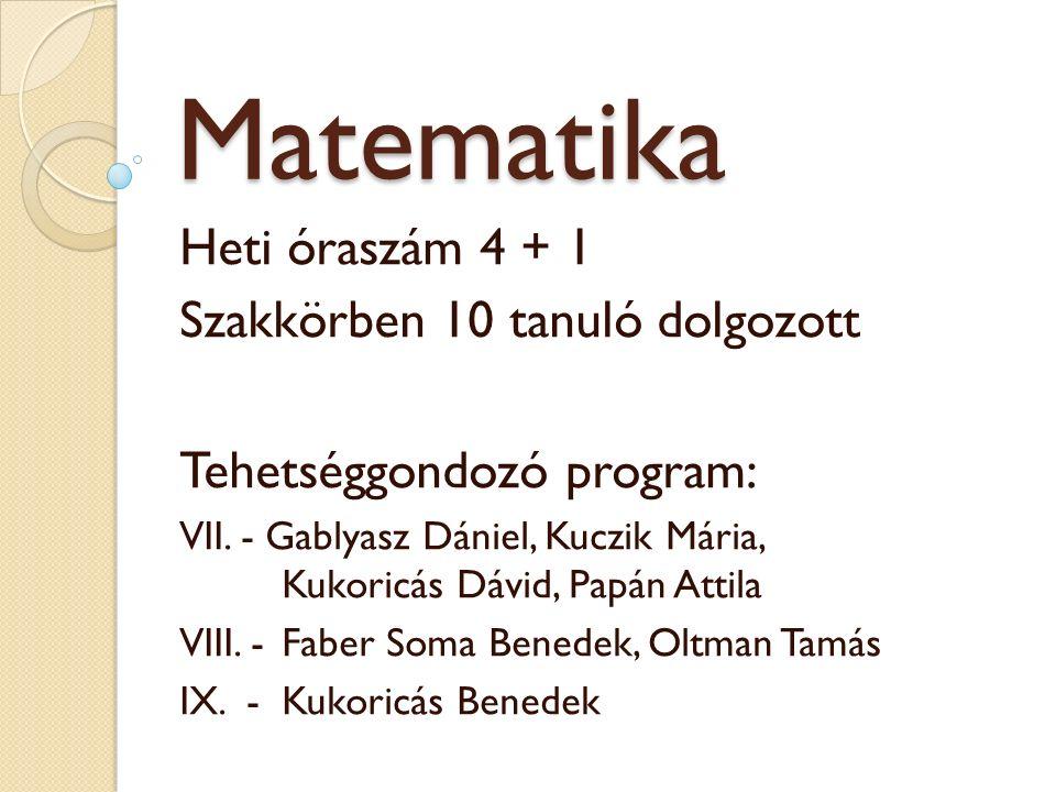 Matematika Heti óraszám 4 + 1 Szakkörben 10 tanuló dolgozott Tehetséggondozó program: VII.