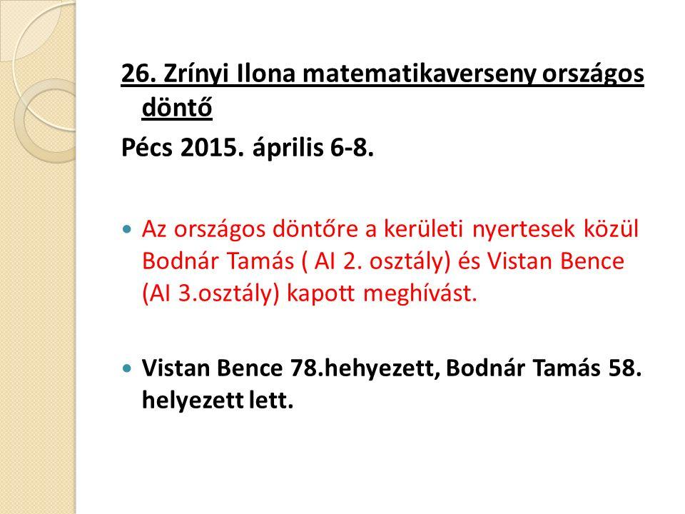 26. Zrínyi Ilona matematikaverseny országos döntő Pécs 2015.