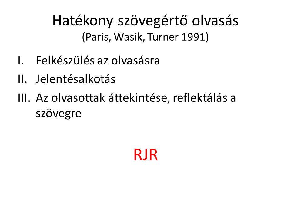 Hatékony szövegértő olvasás (Paris, Wasik, Turner 1991) I.Felkészülés az olvasásra II.Jelentésalkotás III.Az olvasottak áttekintése, reflektálás a szövegre RJR