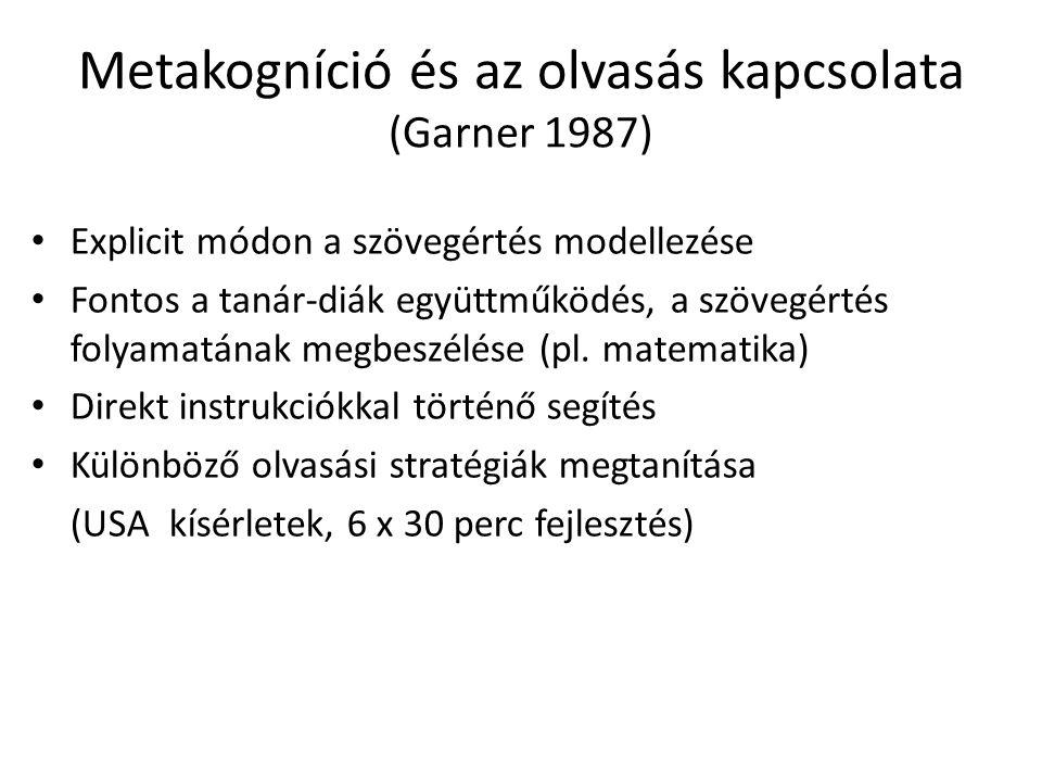 Metakogníció és az olvasás kapcsolata (Garner 1987) Explicit módon a szövegértés modellezése Fontos a tanár-diák együttműködés, a szövegértés folyamatának megbeszélése (pl.