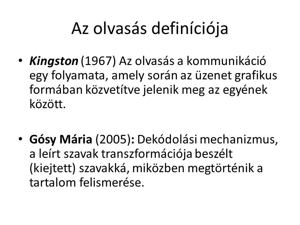 Az olvasás definíciója Kingston (1967) Az olvasás a kommunikáció egy folyamata, amely során az üzenet grafikus formában közvetítve jelenik meg az egyének között.