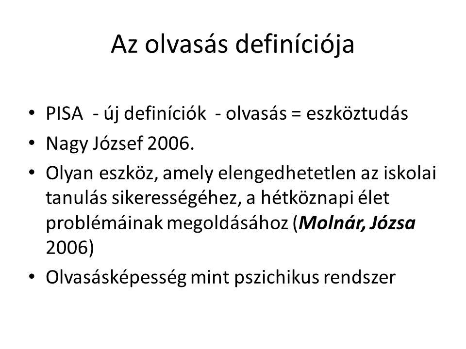 Az olvasás definíciója PISA - új definíciók - olvasás = eszköztudás Nagy József 2006.