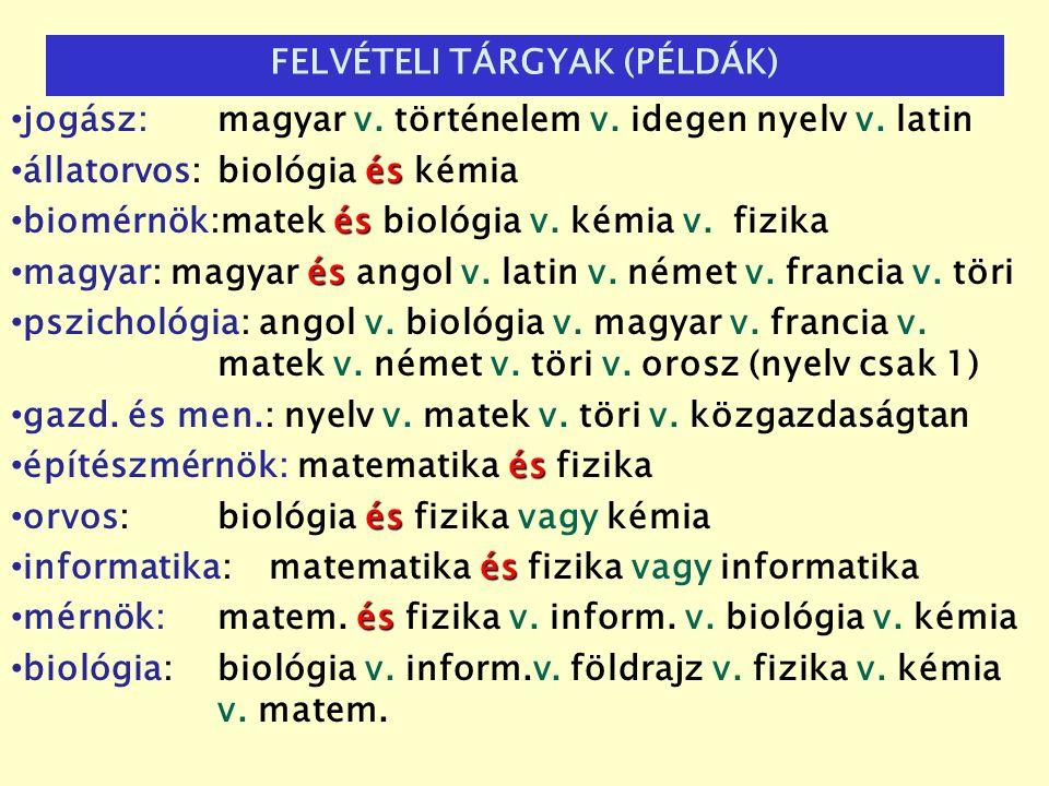 jogász: magyar v. történelem v. idegen nyelv v. latin és állatorvos: biológia és kémia és biomérnök:matek és biológia v. kémia v.fizika és magyar: mag