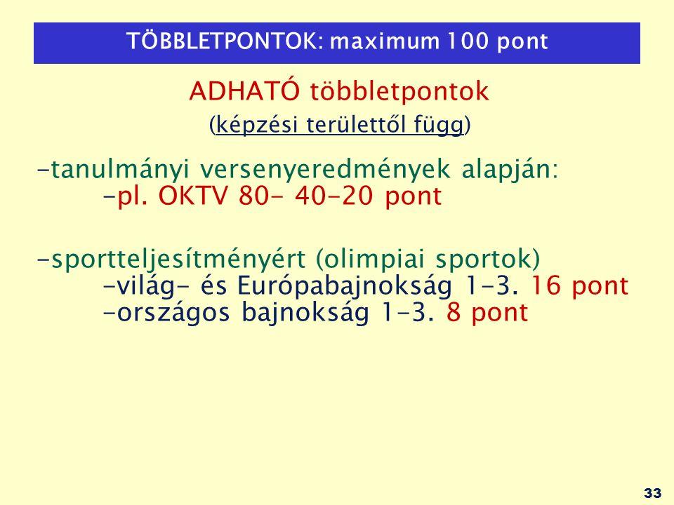 33 TÖBBLETPONTOK: maximum 100 pont ADHATÓ többletpontok (képzési területtől függ) -tanulmányi versenyeredmények alapján: -pl. OKTV 80- 40-20 pont -spo