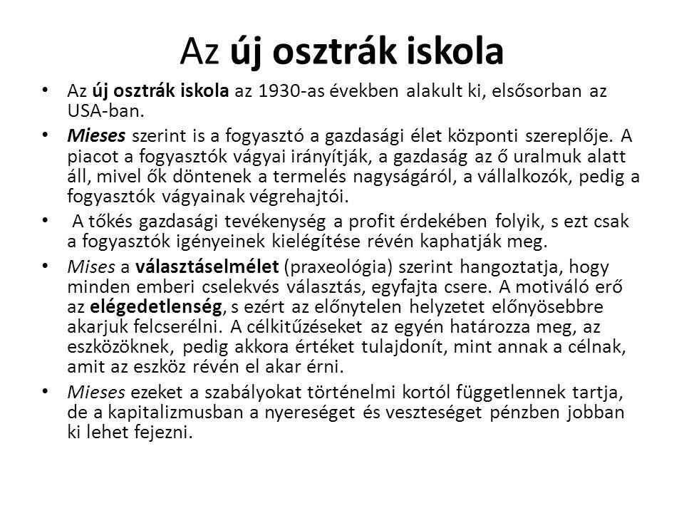 Az új osztrák iskola Az új osztrák iskola az 1930-as években alakult ki, elsősorban az USA-ban.
