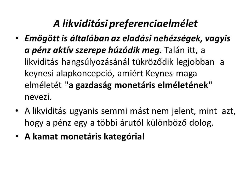 A likviditási preferenciaelmélet Emögött is általában az eladási nehézségek, vagyis a pénz aktív szerepe húzódik meg.