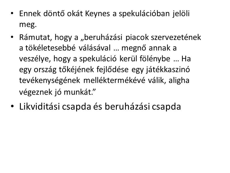 Ennek döntő okát Keynes a spekulációban jelöli meg.