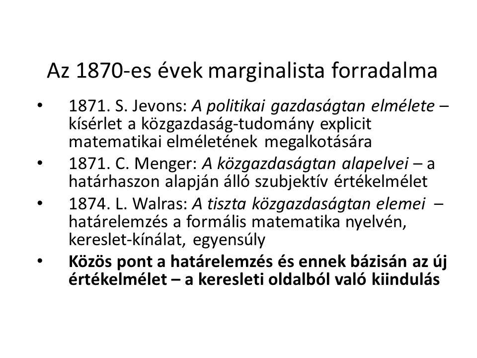 Az 1870-es évek marginalista forradalma 1871. S.