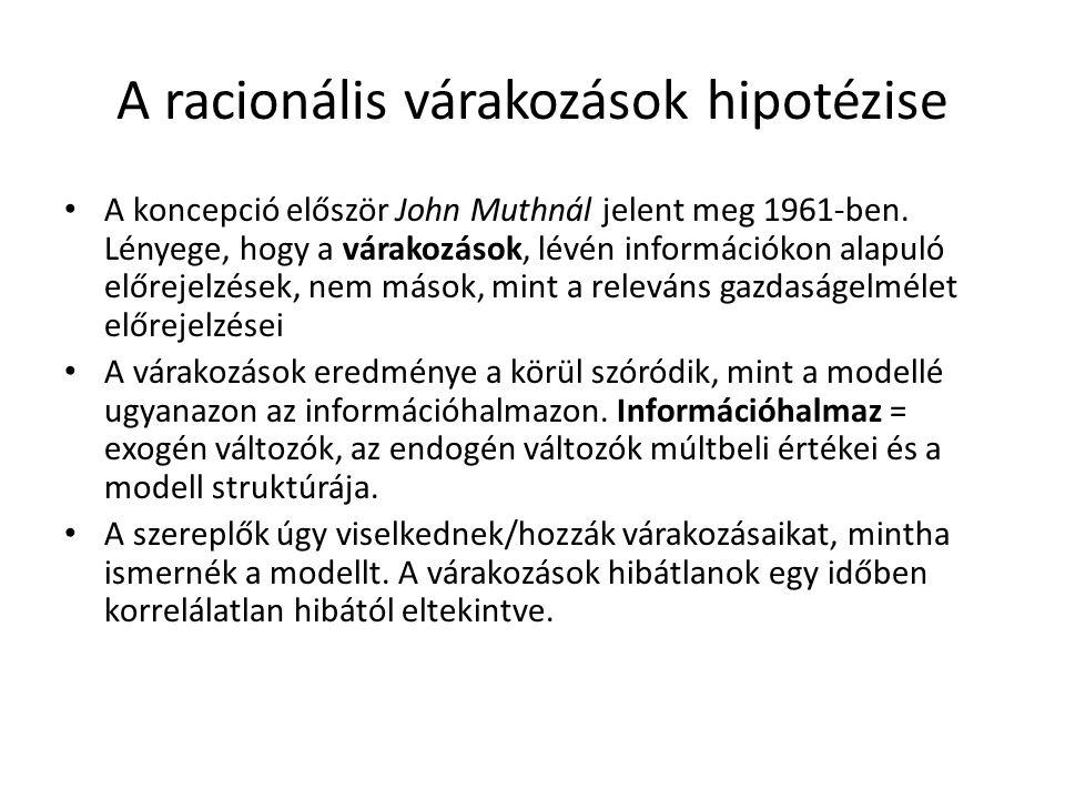 A racionális várakozások hipotézise A koncepció először John Muthnál jelent meg 1961-ben.