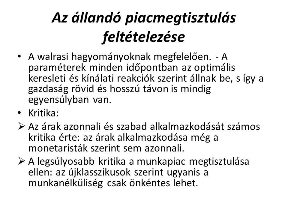 Az állandó piacmegtisztulás feltételezése A walrasi hagyományoknak megfelelően.