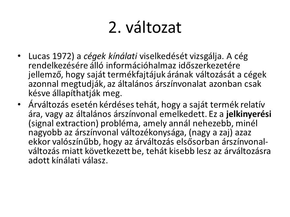 2.változat Lucas 1972) a cégek kínálati viselkedését vizsgálja.
