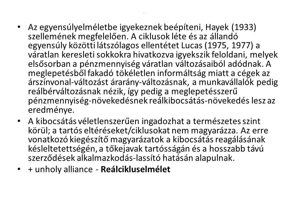 Az egyensúlyelméletbe igyekeznek beépíteni, Hayek (1933) szellemének megfelelően.