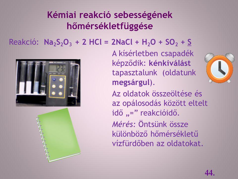Reakció: Na 2 S 2 O 3 + 2 HCl = 2NaCl + H 2 O + SO 2 + S A kísérletben csapadék képződik: kénkiválást tapasztalunk (oldatunk megsárgul).