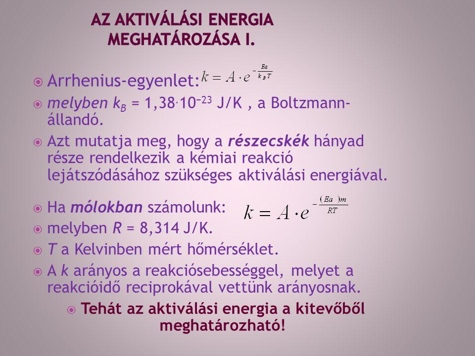 Arrhenius-egyenlet:  melyben k B = 1,38. 10 −23 J/K, a Boltzmann- állandó.