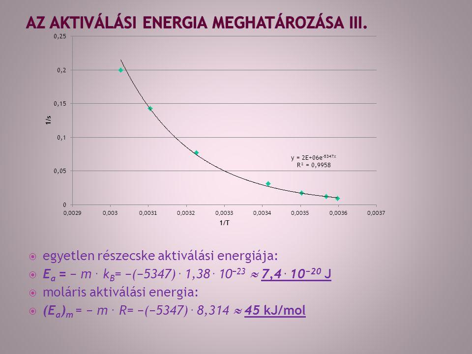  egyetlen részecske aktiválási energiája:  E a = − m.