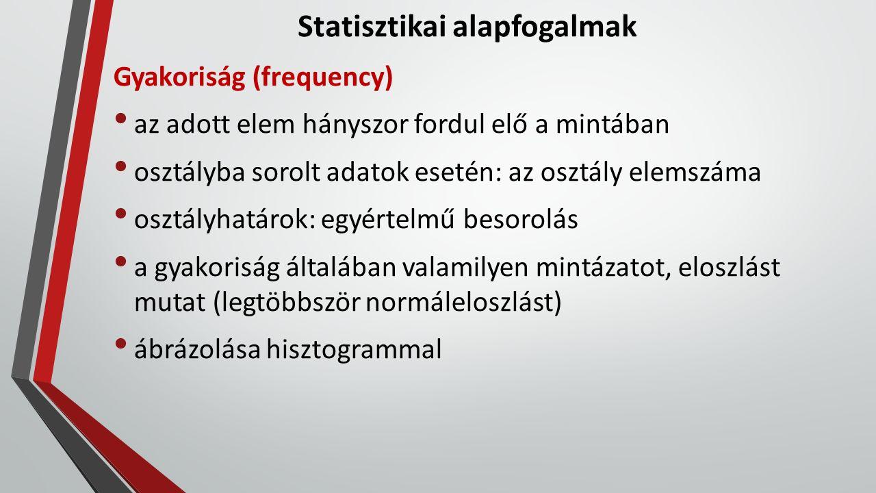 Statisztikai alapfogalmak Gyakoriság (frequency) az adott elem hányszor fordul elő a mintában osztályba sorolt adatok esetén: az osztály elemszáma osz