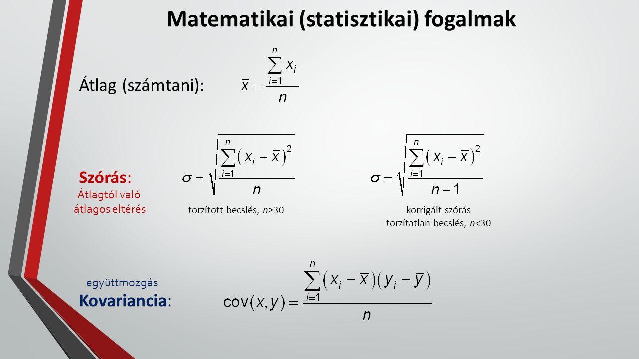 Matematikai (statisztikai) fogalmak Átlag (számtani): Szórás: Kovariancia: torzított becslés, n≥30korrigált szórás torzítatlan becslés, n<30 Átlagtól