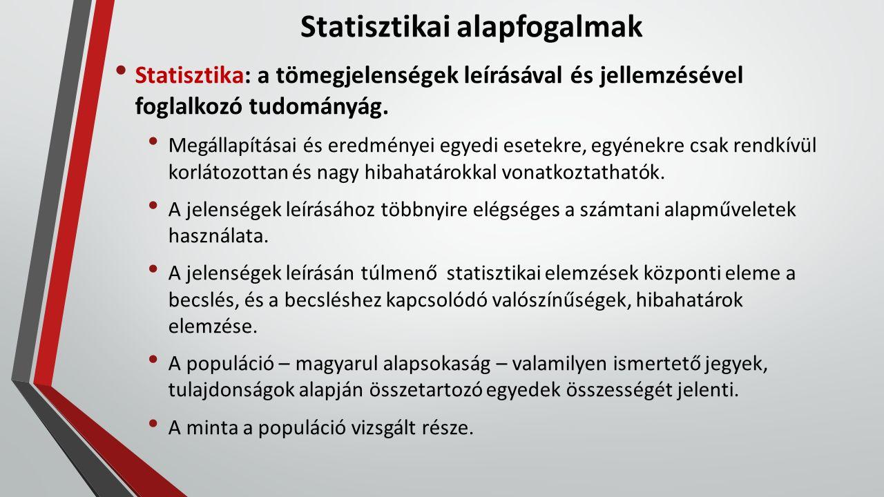 Statisztikai alapfogalmak Statisztika: a tömegjelenségek leírásával és jellemzésével foglalkozó tudományág. Megállapításai és eredményei egyedi esetek