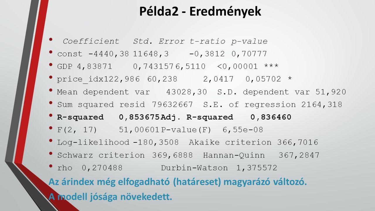 Példa2 - Eredmények CoefficientStd. Errort-ratiop-value const -4440,3811648,3-0,38120,70777 GDP4,838710,7431576,5110<0,00001 *** price_idx122,98660,23