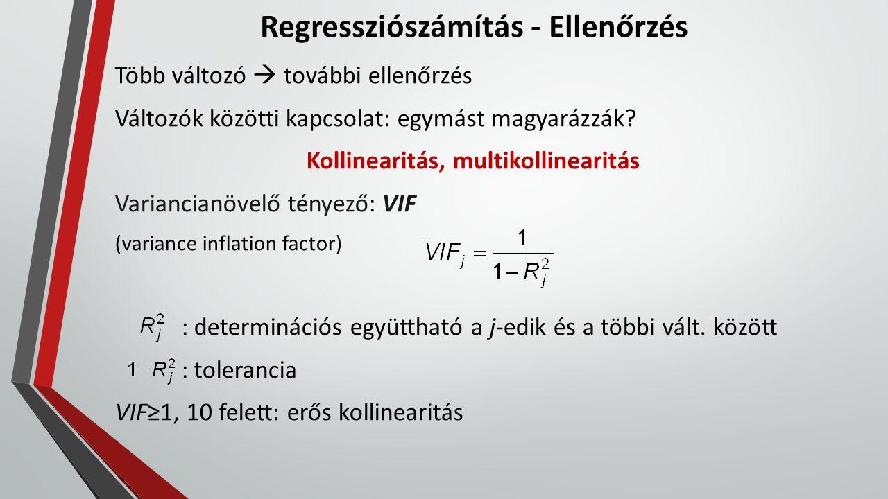 Regressziószámítás - Ellenőrzés Több változó  további ellenőrzés Változók közötti kapcsolat: egymást magyarázzák? Kollinearitás, multikollinearitás V